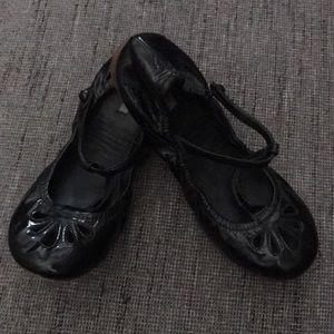 Miu Miu Black patent leather t strap ballet flats